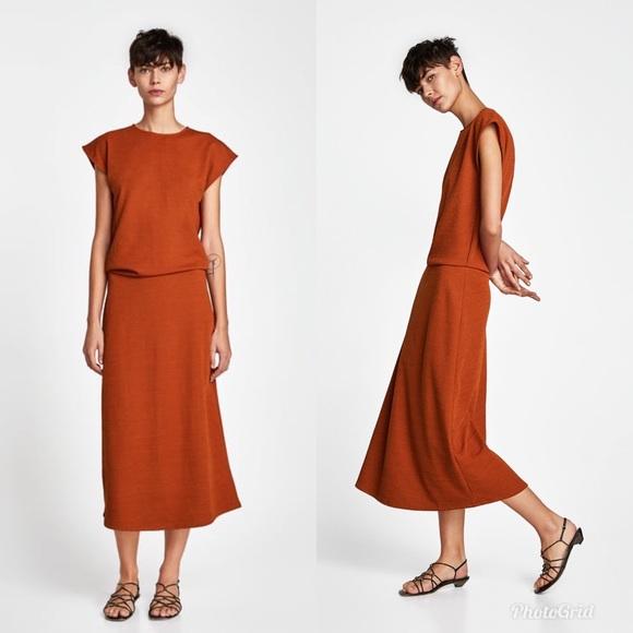 1e623e3c Zara Dresses | New Dark Burnt Orange Midi Waist Long Dress | Poshmark